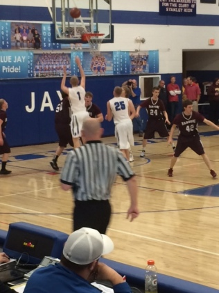 Wyatt Hanson (1) takes a shot for the Stanley Blue Jays