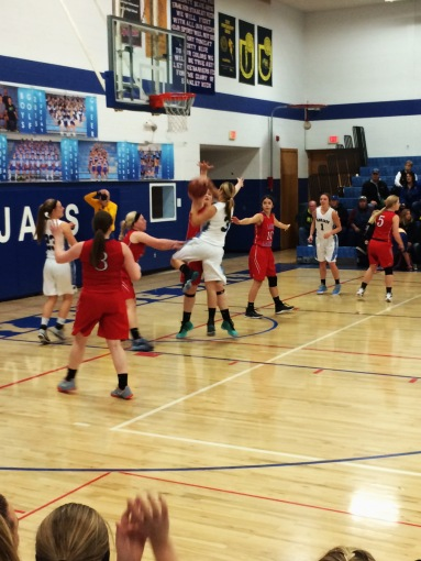 Savanah Meyer drives to the basket for the Blue Jays