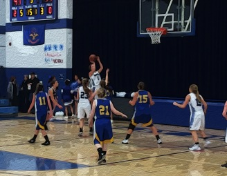 Blue Jay Lacey Meiers takes a shot versus Tioga