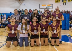 2016 North Dakota District 16 All-Tournament Team (Photo by Alan Christianson) Bottom Row from left (Brianna Honrud, Maari Dolen, Sierra Overton, McKayla Neubauer, Sadie Maruskie) Top row from left (Hayley Schmidt, Abby Iverson, Marissa Veach, Grace Hove, Sydney Titus)