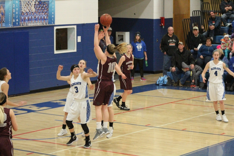 Lauryn Heide goes up for a shot vs. Stanley (Photo by Ian Grande)
