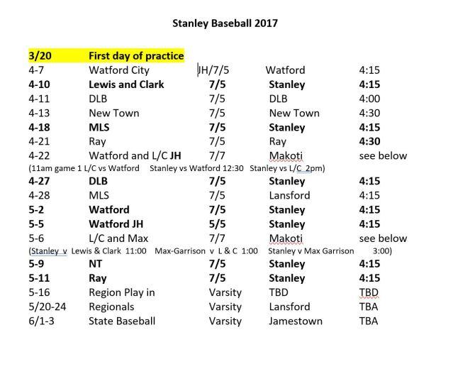 Baseball Schedule 4-5-17