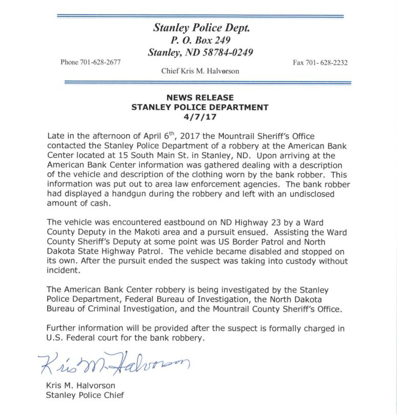 Stanley Bank Robbery Report