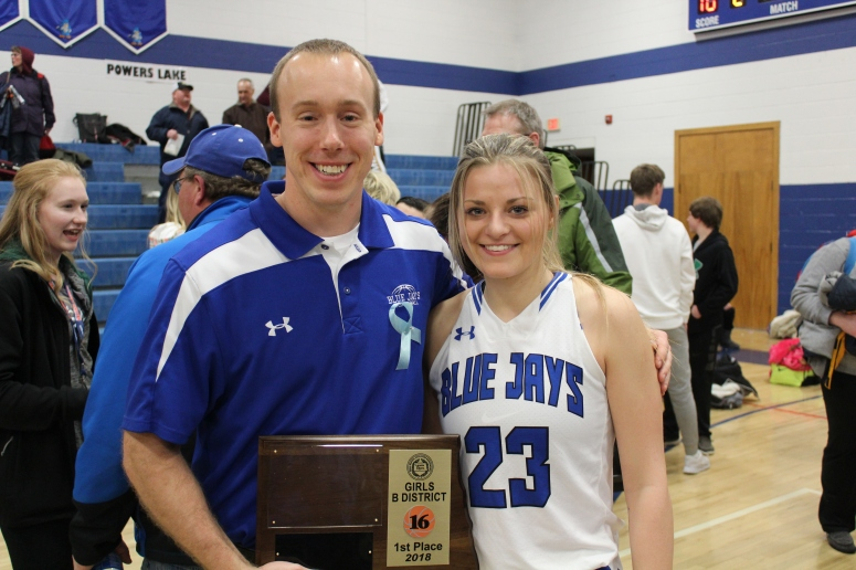 Stanley Blue Jay coach Kelly Roemmich with Senior Abby Iverson