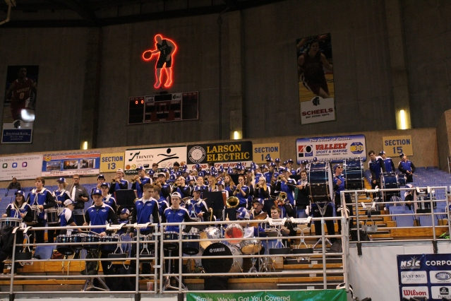 Stanley Blue Jay Band Playing at the State Class B Girls Basketball Tournament
